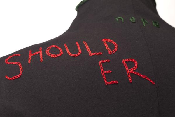 """""""Anatomical Vocab - Shoulder Detail"""" Floor Length Dress Black Knit Silk Embroidery"""