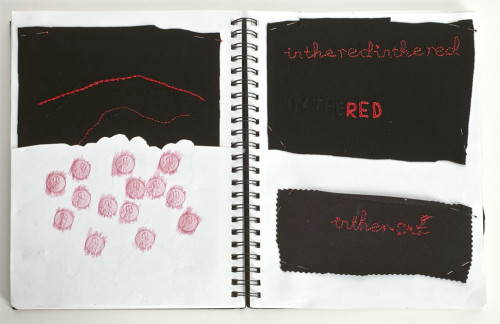 """""""In the Red/In the Hole"""" (Sketchbook Notes 1) Black Knit Silk Embroidery"""