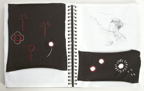 """""""In the Red/In the Hole"""" (Sketchbook Notes 2) Black Knit Silk Embroidery"""