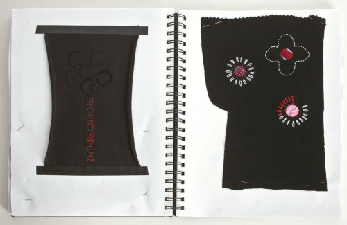 """""""In the Red/In the Hole"""" (Sketchbook Notes 3) Black Knit Silk Embroidery"""